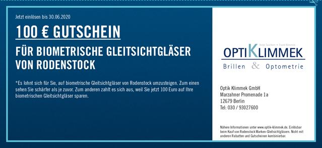 100€ Gutschein für biometrische Gleitsichtgläser von Rodenstock
